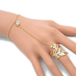 Jewelry - PREVIEW Gold Leaf Ring Linked Hand Chain Bracelet